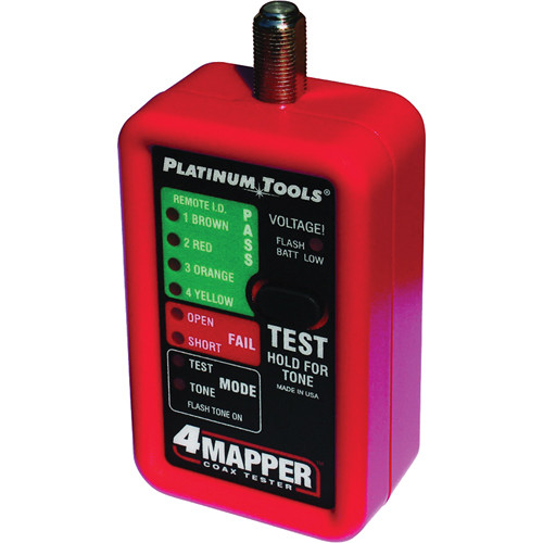 Platinum Tools 4Mapper Coax Tester with 4 Custom F Remotes