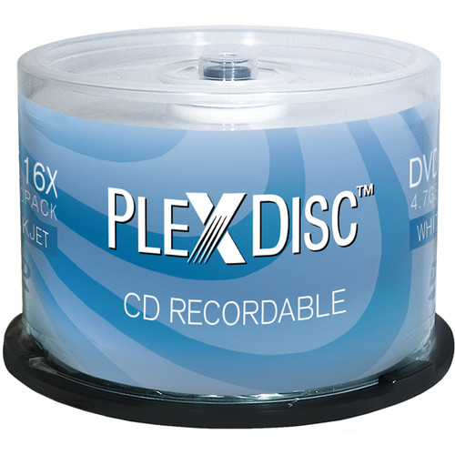 PlexDisc 700MB CD-R White Inkjet Printable Discs (Spindle, 50-Pack)