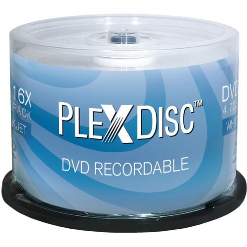 PlexDisc DVD-R White Inkjet Hub Printable Discs (50-Pack)