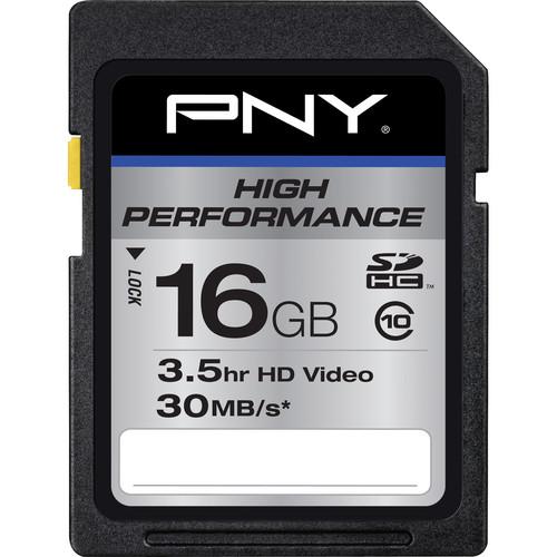 PNY Technologies 16 GB High Performance SDHC Class 10 - 30 MB/s SD Card