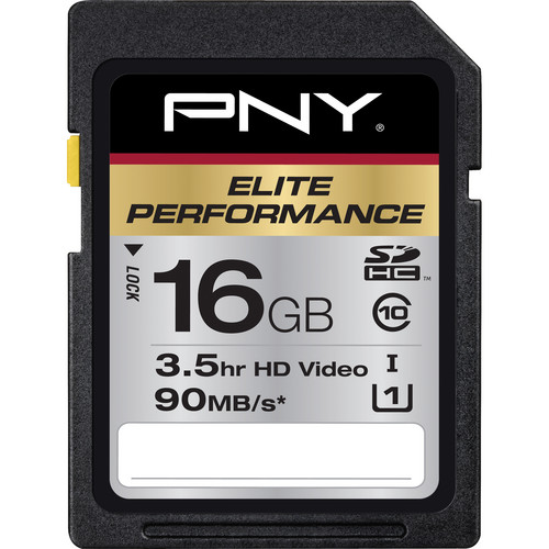 PNY Technologies 16 GB Elite Performance SDHC Class 10 UHS-1 - 90 MB/s SD Card