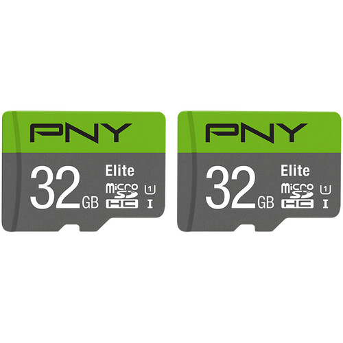 PNY Technologies 32GB Elite UHS-I microSDHC Memory Card (2-Pack)