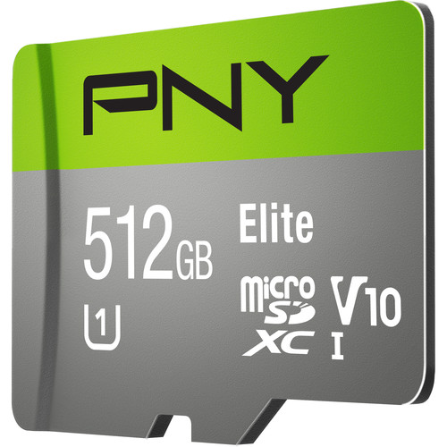 PNY Technologies 512GB Elite UHS-I microSDXC Memory Card with SD Adapter