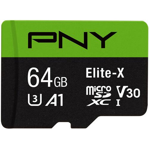 PNY Technologies 64GB Elite-X UHS-I microSDXC Memory Card