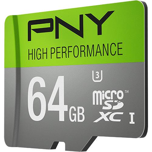 PNY Technologies 64GB High Performance UHS-I microSDXC Memory Card (U3, Class 10)