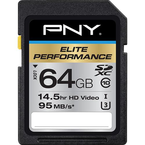 PNY Technologies 64GB Elite Performance UHS-1 SDXC Memory Card (U3, Class 10)