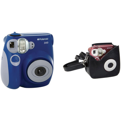 Polaroid 300 Instant Film Camera with Faux Leather Carrying Case Kit (Blue)
