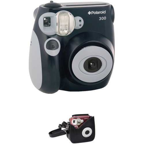 Polaroid 300 Instant Film Camera with Faux Leather Carrying Case Kit (Black)
