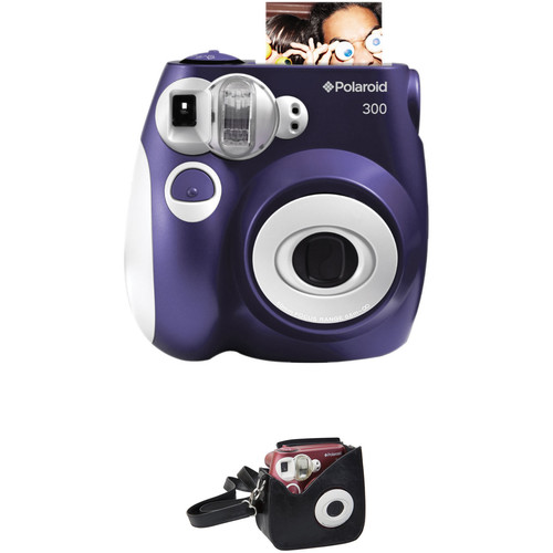 Polaroid 300 Instant Film Camera with Faux Leather Carrying Case Kit (Purple)
