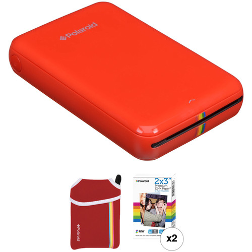 Polaroid ZIP Mobile Printer Kit with Pouch and 30 Sheets of Photo Paper (Red)