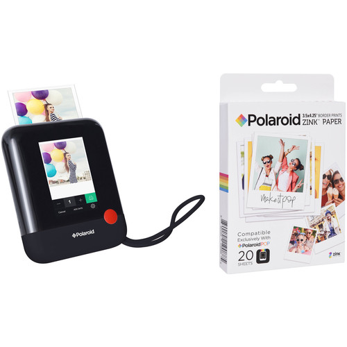 Polaroid Pop Instant Print Digital Camera with ZINK Paper Kit (Black)