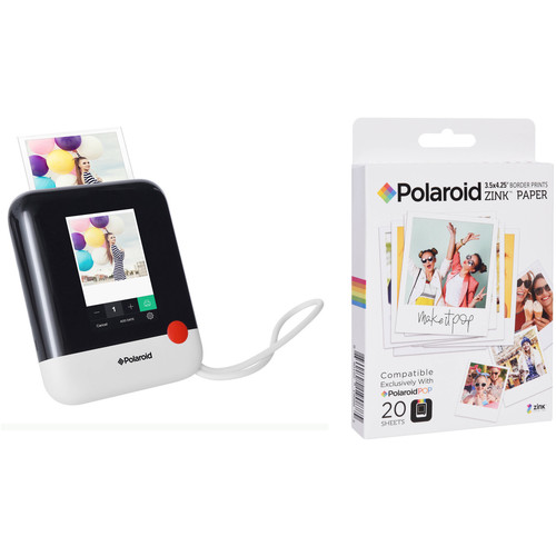Polaroid Pop Instant Print Digital Camera with ZINK Paper Kit (White)