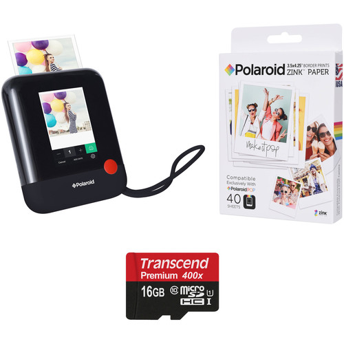 Polaroid Pop Instant Print Digital Camera with ZINK Paper and Memory Card Kit (Black)