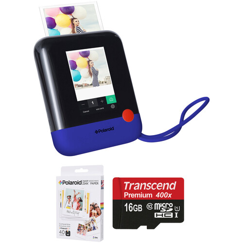 Polaroid Pop Instant Print Digital Camera with ZINK Paper and Memory Card Kit (Blue)