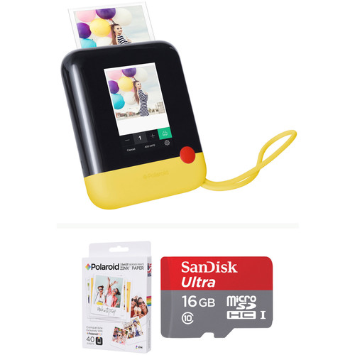 Polaroid Pop Instant Print Digital Camera with ZINK Paper and Memory Card Kit (Yellow)