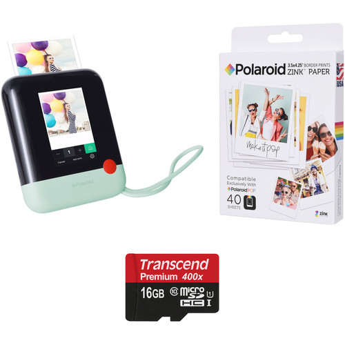Polaroid Pop Instant Print Digital Camera with ZINK Paper and Memory Card Kit (Green)
