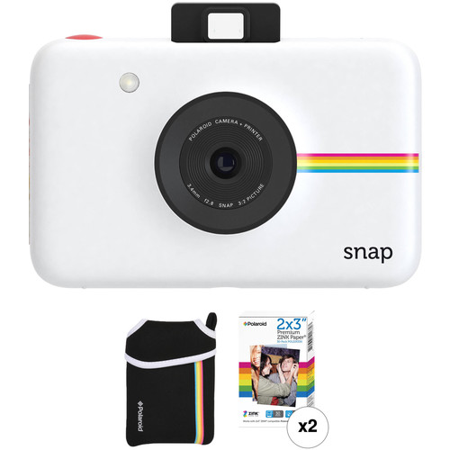 Polaroid Snap Instant Digital Camera with ZINK Photo Paper and Pouch Kit (White)