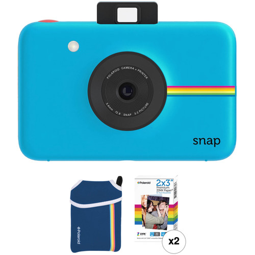 Polaroid Snap Instant Digital Camera with ZINK Photo Paper and Pouch Kit (Blue)