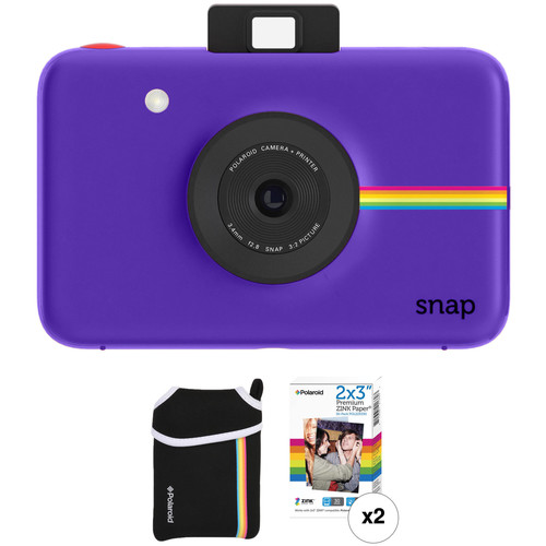 Polaroid Snap Instant Digital Camera with ZINK Photo Paper and Pouch Kit (Purple)