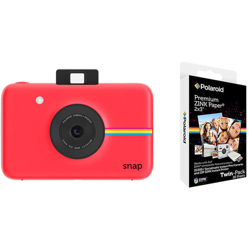 Polaroid Snap Instant Digital Camera with Paper Kit (Red)