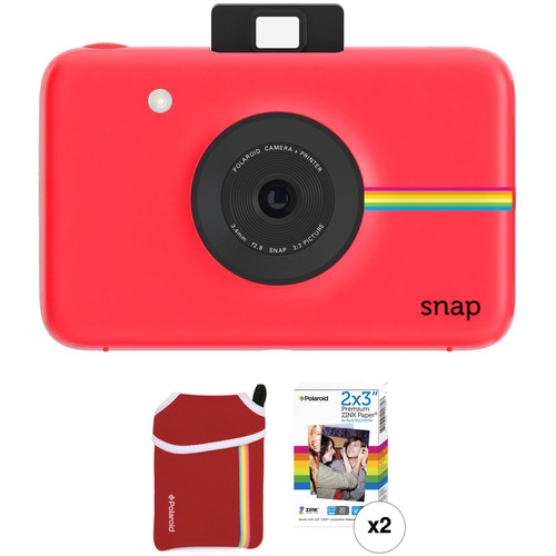 Polaroid Snap Instant Digital Camera with ZINK Photo Paper and Pouch Kit (Red)