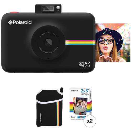 Polaroid Snap Touch Instant Digital Camera with ZINK Photo Paper and Pouch Kit (Black)