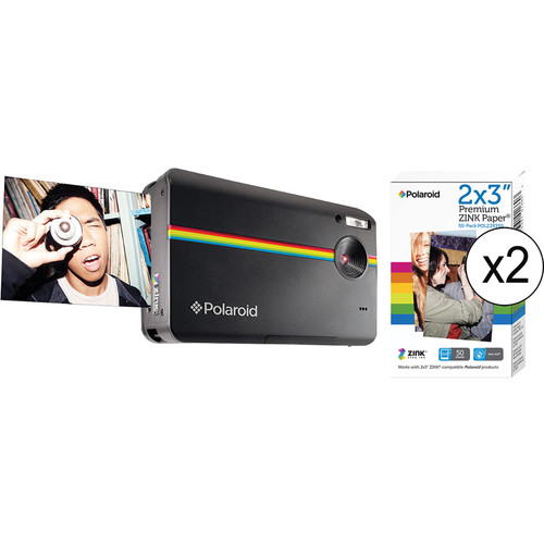 Polaroid Z2300 Instant Digital Camera Kit with 100 Sheets of Photo Paper (Black)