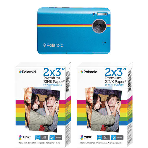 Polaroid Z2300 Instant Digital Camera & 100 Sheets of Photo Paper Kit (Blue, Lucite Packaging)