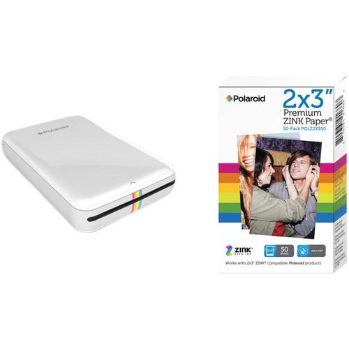 Polaroid ZIP Mobile Printer Kit with 50 Sheets of Photo Paper (White)