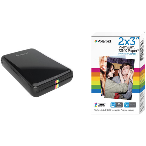 Polaroid ZIP Mobile Printer Kit with 50 Sheets of Photo Paper (Black)