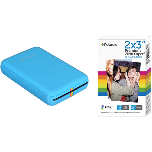 Polaroid ZIP Mobile Printer Kit with 50 Sheets of Photo Paper (Blue)