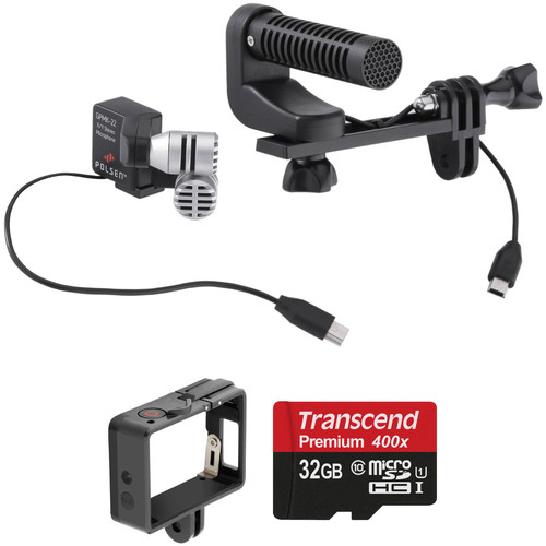 Polsen GPMK-22 GoPro Production Microphone Kit with Quick Release Frame & Memory Card
