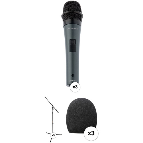 Polsen HDM-16-S Handheld Dynamic Mics with Stands and Windscreens Kit (Set of 3)