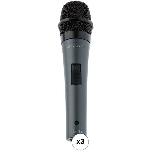 Polsen HDM-16-S Handheld Dynamic Performance Microphones Kit (Set of 3)
