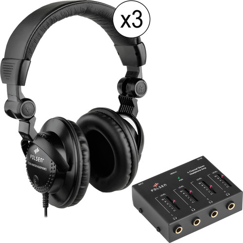 Polsen HPC-A30 Closed-Back Circumaural Headphone and Headphone Amplifier Kit (3-Pack)