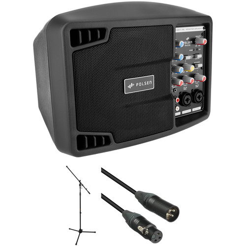 """Polsen PA-5150, 5"""" 150W Portable PA System with Stand and Cable Kit"""