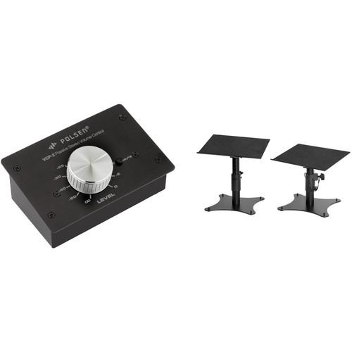 Polsen Passive Volume Controller and Adjustable Desktop Monitor Stands Kit