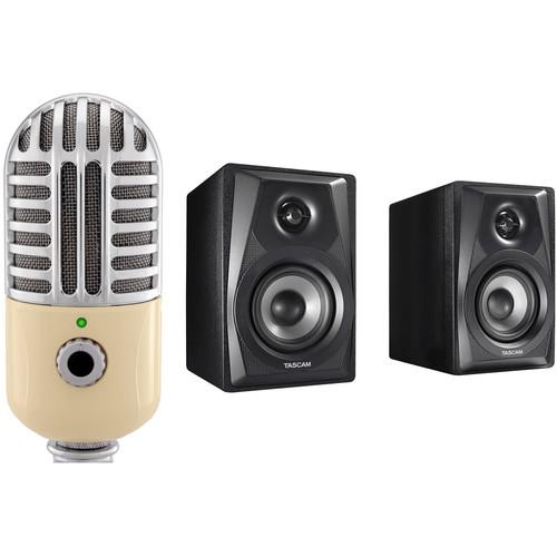 Polsen Polsen RC-77-U USB Retro Condenser Microphone Kit with Tascam VL-S3 Studio Monitors