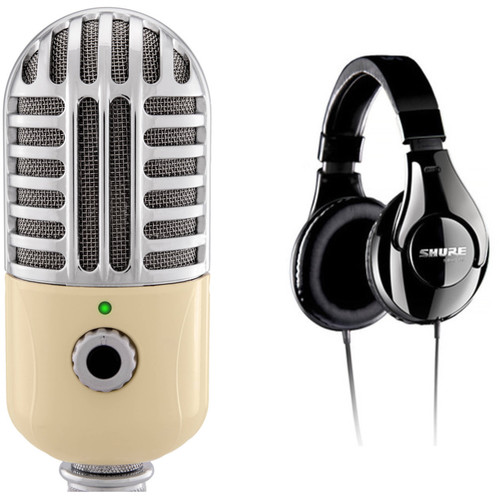 Polsen RC-77-U USB Retro Condenser Microphone and Shure SRH240A Around-Ear Headphones Kit