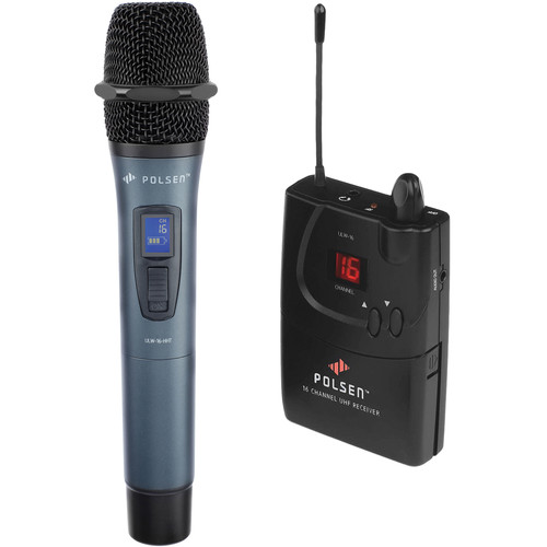 Polsen ULW-16-HL 16-Channel Camera-Mount UHF Wireless System with Handheld Transmitter (584.400 to 602.450 MHz)