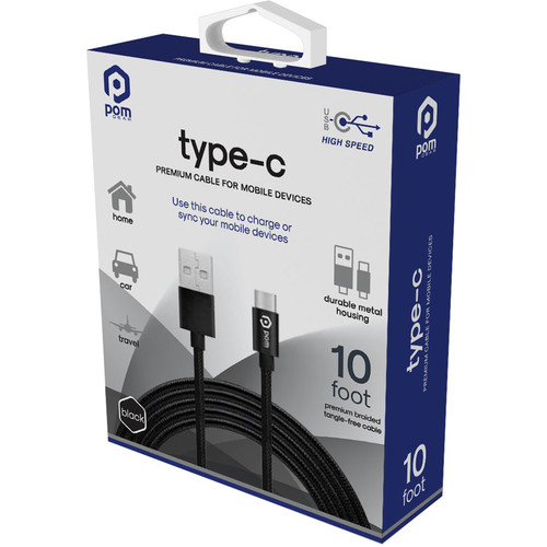 POM GEAR 10' Type C Braided Cable (Black)