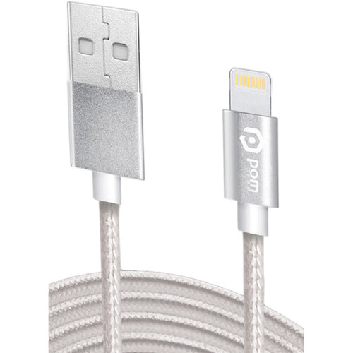 POM GEAR Charge2Go Lightning to USB Type-A Charging Cable (3', Stainless Steel)