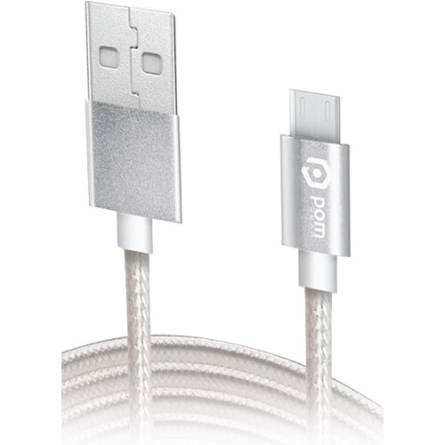 POM GEAR 6' Charge2Go Charge/Sync Micro USB Cable (Stainless Steel)