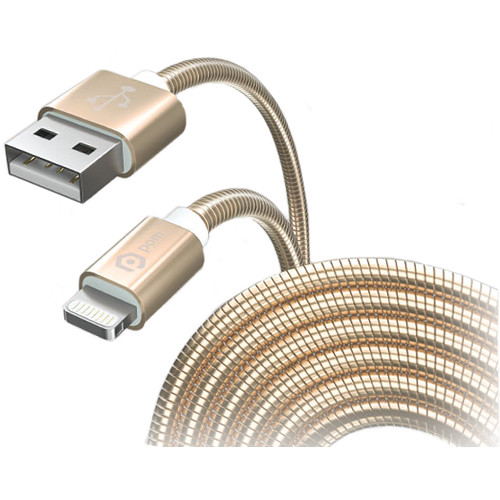 POM GEAR 5' MFi Metal Coil Cable (Gold)