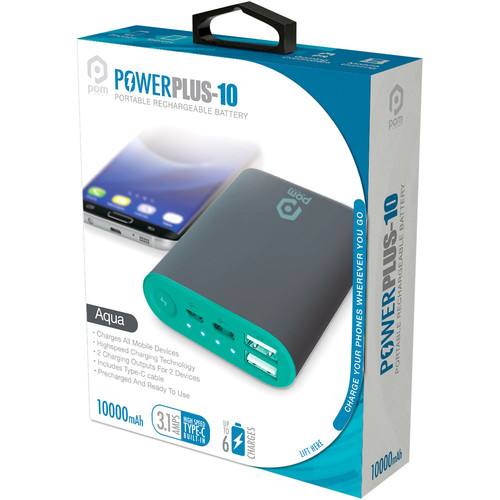 POM GEAR Power Plus 10 Portable 10,000mAh Battery Pack (Aqua)