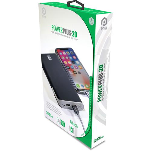 POM GEAR Power Plus 20 Portable 20,000mAh Battery Pack (Black)