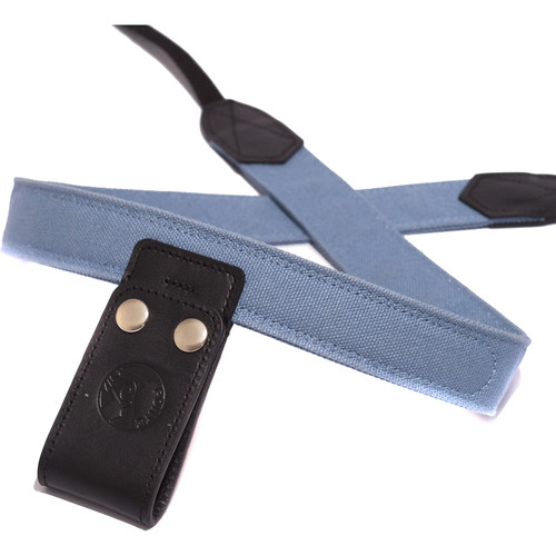 PONTE Leather Co Light Steel Blue Canvas Camera Lift-Strap