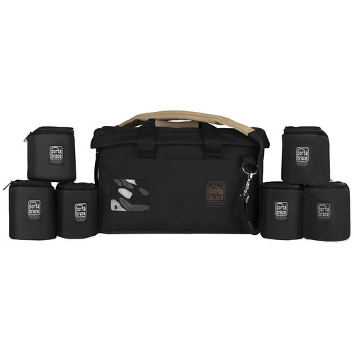 """Porta Brace Rigid-Frame Padded Carrying Case with Six 4"""" Lens Cups"""