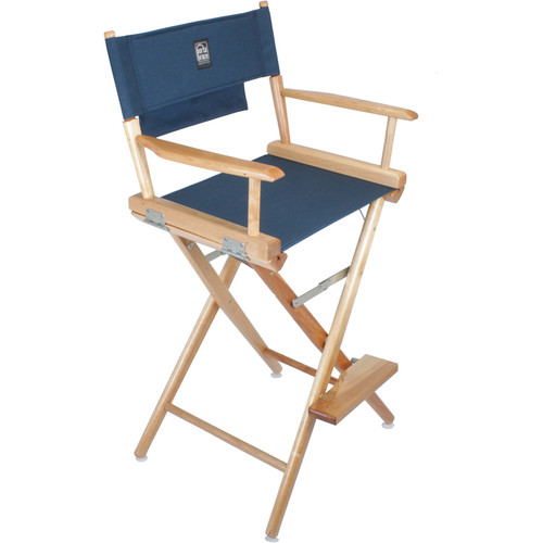 Porta Brace LC-30N/B Director's Chair (Natural Wood Frame with Blue Seat)