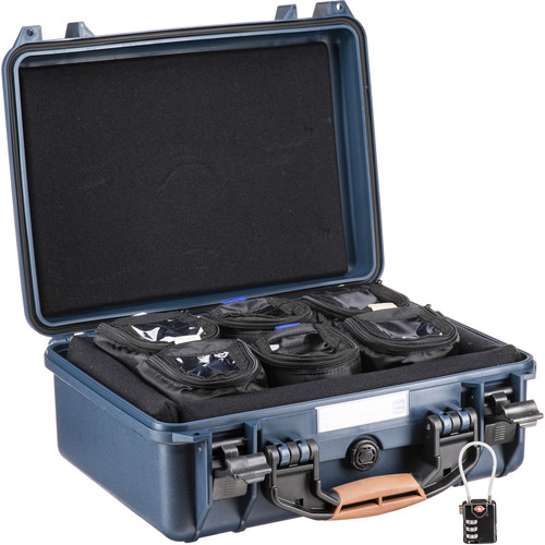 "Porta Brace Hard Case with Six 4"" Lens Cups for DSLRs or Small Equipment and Accessories (Blue)"